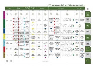 جدول کامل جشنواره (برای بزرگنمایی تصویر کلیک کنید)